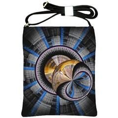 Fractal Tech Disc Background Shoulder Sling Bags