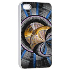 Fractal Tech Disc Background Apple iPhone 4/4s Seamless Case (White)