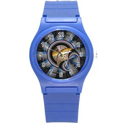 Fractal Tech Disc Background Round Plastic Sport Watch (S)