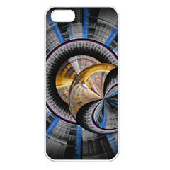 Fractal Tech Disc Background Apple iPhone 5 Seamless Case (White)