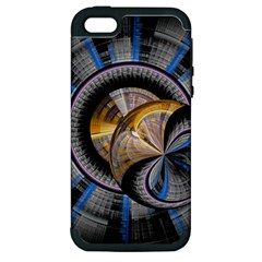 Fractal Tech Disc Background Apple Iphone 5 Hardshell Case (pc+silicone)