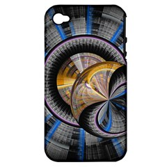 Fractal Tech Disc Background Apple iPhone 4/4S Hardshell Case (PC+Silicone)