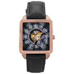 Fractal Tech Disc Background Rose Gold Leather Watch