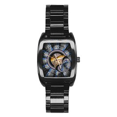 Fractal Tech Disc Background Stainless Steel Barrel Watch