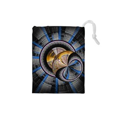 Fractal Tech Disc Background Drawstring Pouches (Small)