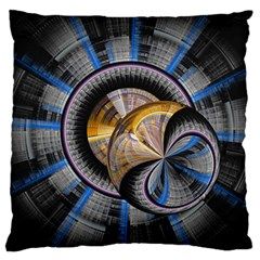 Fractal Tech Disc Background Large Flano Cushion Case (One Side)