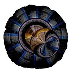 Fractal Tech Disc Background Large 18  Premium Flano Round Cushions