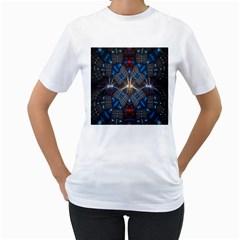 Fancy Fractal Pattern Women s T Shirt (white) (two Sided)