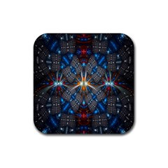 Fancy Fractal Pattern Rubber Square Coaster (4 pack)
