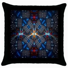 Fancy Fractal Pattern Throw Pillow Case (Black)