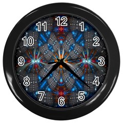 Fancy Fractal Pattern Wall Clocks (black)