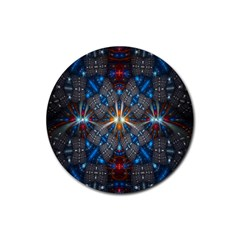 Fancy Fractal Pattern Rubber Round Coaster (4 Pack)