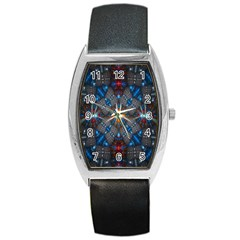 Fancy Fractal Pattern Barrel Style Metal Watch