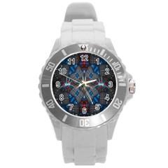Fancy Fractal Pattern Round Plastic Sport Watch (L)