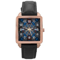 Fancy Fractal Pattern Rose Gold Leather Watch