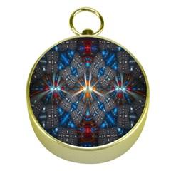 Fancy Fractal Pattern Gold Compasses