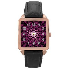 Cool Fractal Rose Gold Leather Watch