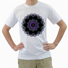 Fractal Lace Men s T Shirt (white) (two Sided)