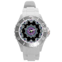 Fractal Lace Round Plastic Sport Watch (L)