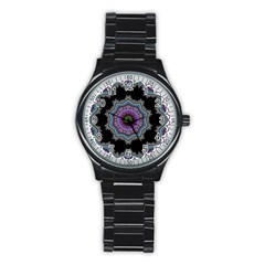 Fractal Lace Stainless Steel Round Watch