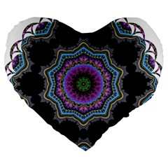 Fractal Lace Large 19  Premium Flano Heart Shape Cushions