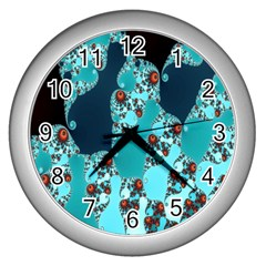 Decorative Fractal Background Wall Clocks (Silver)