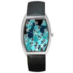 Decorative Fractal Background Barrel Style Metal Watch