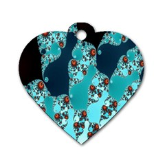 Decorative Fractal Background Dog Tag Heart (one Side)