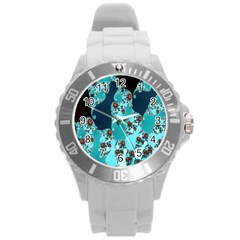 Decorative Fractal Background Round Plastic Sport Watch (L)