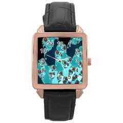 Decorative Fractal Background Rose Gold Leather Watch