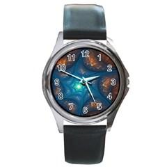 Fractal Star Round Metal Watch