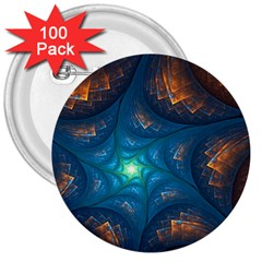 Fractal Star 3  Buttons (100 pack)