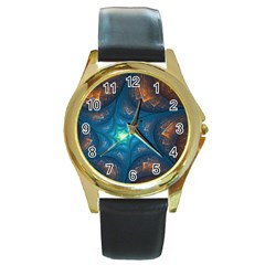 Fractal Star Round Gold Metal Watch