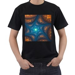 Fractal Star Men s T-Shirt (Black) (Two Sided)