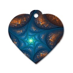 Fractal Star Dog Tag Heart (two Sides)