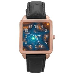 Fractal Star Rose Gold Leather Watch