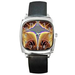 Symmetric Fractal Square Metal Watch