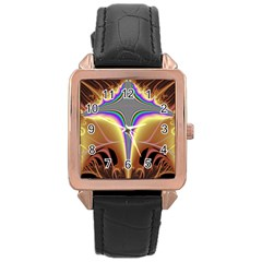Symmetric Fractal Rose Gold Leather Watch