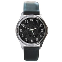 Distorted Net Pattern Round Metal Watch