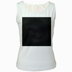 Distorted Net Pattern Women s White Tank Top