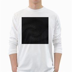 Distorted Net Pattern White Long Sleeve T-Shirts