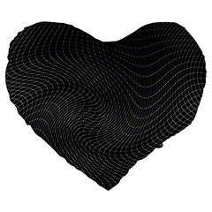 Distorted Net Pattern Large 19  Premium Heart Shape Cushions