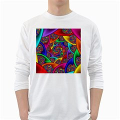 Color Spiral White Long Sleeve T-Shirts