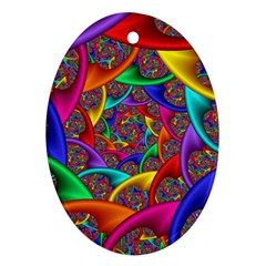 Color Spiral Oval Ornament (Two Sides)