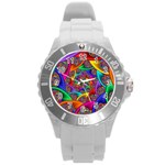 Color Spiral Round Plastic Sport Watch (L) Front