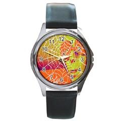 Orange Guy Spider Web Round Metal Watch