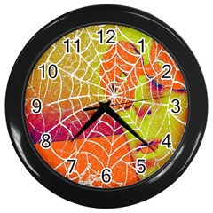 Orange Guy Spider Web Wall Clocks (black)