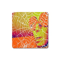 Orange Guy Spider Web Square Magnet