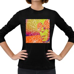 Orange Guy Spider Web Women s Long Sleeve Dark T Shirts