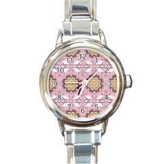 Floral Pattern Seamless Wallpaper Round Italian Charm Watch